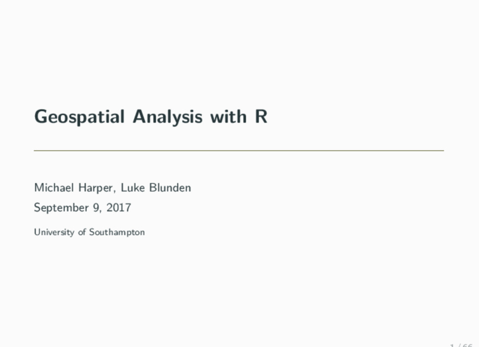 Using R for Geospatial Data Analysis · Mikey Harper