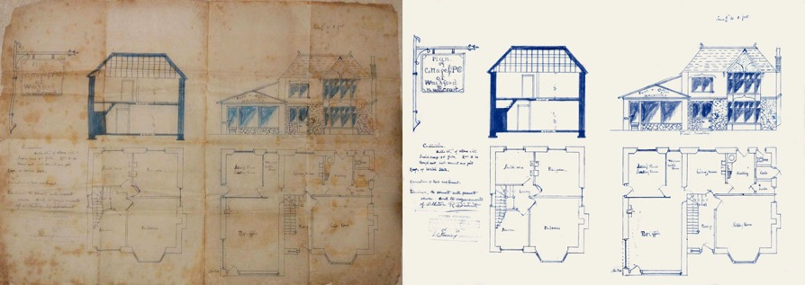 The original house drawings produced in the 1920s (left) and the digitally restored copy (right).